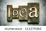 Idea concept, retro vintage letterpress type on grunge background - stock photo