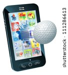 Illustration of a golf ball flying out of mobile phone screen - stock photo