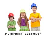 Professional guidance day - kids with hard hats, isolated - stock photo