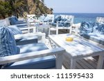 Relaxing lounge by the sea - stock photo