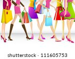 illustration of legs of ladies busy in shopping - stock vector