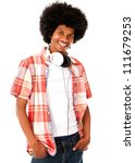 Cool black man with headphones - isolated over a white background - stock photo