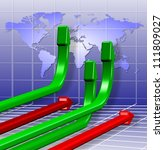 3d green and red arrows going in different directions / Global business charts - stock photo