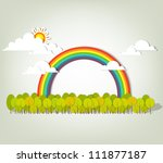 Rainbow over forest - stock vector