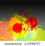 Colorful bright ink splashes on dark background vector - stock vector