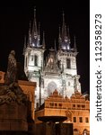 Church of Our Lady before Tyn at night in Prague, Czech Republic - stock photo