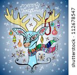 illustration of a christmas deer with a colorful scarf and decoration, beautiful background - stock photo