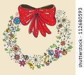 Vintage Christmas wreath, color illustration, vector - stock vector