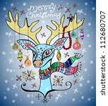 illustration of a christmas deer with a colorful scarf and decoration, beautiful background, vector - stock vector