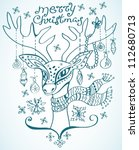 illustration of a christmas deer with scarf and decoration, beautiful background, vector - stock vector