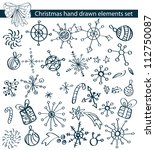 Christmas hand drawn elements collection for your design - stock photo