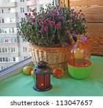 An autumn mood of chrysanthemums, apples and a lantern - stock photo