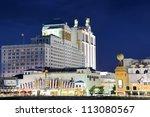 ATLANTIC CITY, NJ -  SEPTEMBER 8: Casinos along the Boardwalk September 8, 2012 in Atlantic City, New Jersey. The boardwalk is considered the oldest in America, having been built in 1870. - stock photo