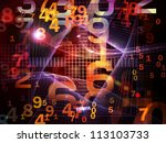 Interplay of numbers and fractal elements on the subject of computers, science, math and modern technology - stock photo