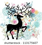 Natural background with deer, flowers and bird, cute illustration, vector - stock vector