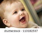 Baby Girl is just having fun and laughing - stock photo