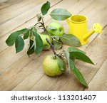 Three green apples with leaves and yellow watering-can on wooden - stock photo
