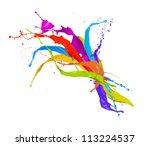 Colored paint splashes isolated on white background - stock photo