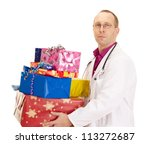 Medical doctor with a lot of gifts - stock photo