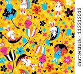 bunnies & flowers pattern - stock vector