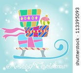 Christmas background with sledge and gifts, illustration, vector - stock vector