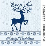 Christmas deer card with text: Merry Christmas, beautiful illustration - stock photo