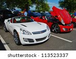 FREDERICK, MD- SEPTEMBER 16:  2011 White,and Red Saturn Sky Convertible on September, 2012 in Frederick , MD USA. Alzheimer's Association Benefit Car Show at Motor Vehicle Administration in Maryland. - stock photo