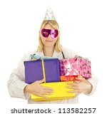 Medical doctor with some colorful gifts - stock photo