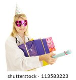 Party doctor with some gifts - stock photo