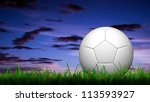 3D football in green grass over a twilight sky - stock photo