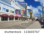ATLANTIC CITY, NJ -  SEPTEMBER 9: Casinos on September 9, 2012 in Atlantic City, New Jersey. Gambling was legalized in the city in 1976 and led to a resurgence. - stock photo