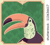 Vintage illustration with toucan. Vector illustration. - stock vector