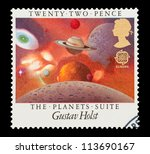 UK - CIRCA 1986: Mail stamp printed in the UK celebrating The Planets Suite, a classical music piece by Gustav Holst, circa 1986 - stock photo