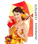 Girl with autumn hairstyle and umbrella. Fashion glamour. - stock photo
