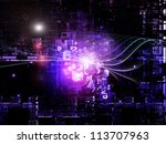 Deep Networking series. Abstract arrangement of industrial grunge texture, numbers and dark gradients suitable as background for projects on computing, industrial design and modern technology - stock photo