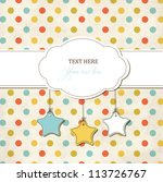 Vintage scrap card with frame and stars on polka dot background - stock vector