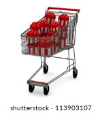 shopping cart with gifts isolated on whit - stock photo