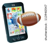 Illustration of an American football ball flying out of cell phone screen - stock vector