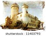 medieval castle - artistic picture in retro style - stock photo