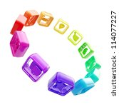 App market: round copyspace frame emblem made of symbolic mobile application colorful rainbow colored plastic icons circled isolated on white background - stock photo