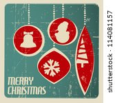 Retro Christmas card with christmas decorations - teal and red - stock vector