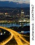 Vienna city and Danube river at night, Austria - stock photo