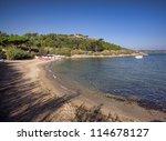 Saint Tropez beach in morning french riviera, mediterranean sea - stock photo