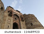 Low angle view of a fort, Old Fort, Delhi, India - stock photo