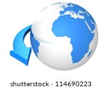 business concept with blue globe sphere and arrow - stock photo