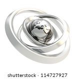 Earth globe black and chrome emblem icon inside the silver metal ring torus hoops isolated on white background - stock photo