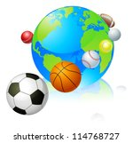 Sports globe world concept, a globe with different sports balls flying around it. - stock photo
