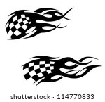 Tattoos with checkered flag in tribal style. Vector version also available in gallery - stock photo