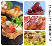 a collage of four pictures of different spanish tapas, as canapes, fried chorizos, pa amb tomaquet and serrano ham or stuffed eggs - stock photo