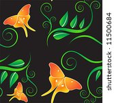 Seamless summer night pattern with plants and butterflies - stock vector